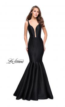 Picture of: Deep Neckline Prom Dress with Pleated Mermaid Skirt in Black, Style: 24773, Main Picture