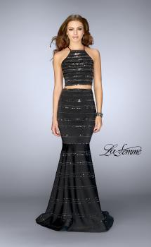 Picture of: Long Beaded Two Piece Mermaid Prom Dress in Black, Style: 24810, Main Picture