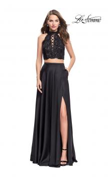 Picture of: Two piece gown with lace up top and satin A line skirt in Black, Style: 25263, Main Picture