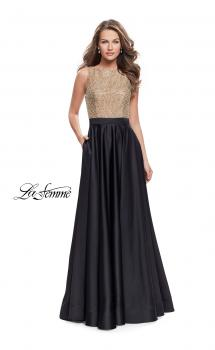 Picture of: Long A Line Dress with Beaded Top and Cut Outs in Black, Style: 25362, Main Picture