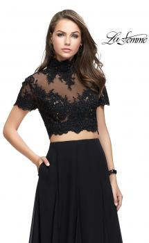 Picture of: Two Piece Dress with Beaded Lace Top and Sheer Back in Black, Style: 25401, Main Picture