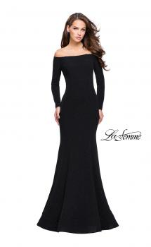 Picture of: Long Sleeve Off the Shoulder Prom Dress with Open Back, Style: 25412, Main Picture