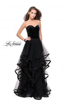 Picture of: Strapless Tulle Ball Gown with Velvet Detail in Black, Style: 25461, Main Picture