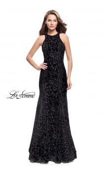 Picture of: Long Velvet Gown with a High Neck and Deep V in Black, Style: 25490, Main Picture