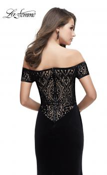 Picture of: Off the Shoulder Velvet Dress with Sheer Burnout Back in Black, Style: 25554, Main Picture