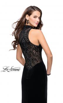 Picture of: Form Fitting Velvet Prom Dress with High Neckline, Style: 25559, Main Picture