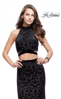 Picture of: Form Fitting Two Piece Prom Dress with Side Cut Outs in Black, Style: 25589, Main Picture