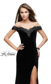 Picture of: Long Velvet Off the Shoulder Gown with Lace Detail in Black, Style: 25591, Main Picture