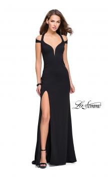 Picture of: Jersey Prom Dress with Off the Shoulder Straps in Black, Style: 25761, Main Picture