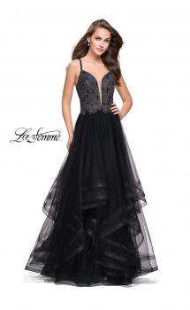 Picture of: Ball Gown with Tulle Skirt and Lace Beading in Black, Style: 25762, Main Picture