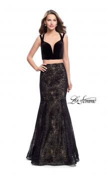 Picture of: Long Two Piece Prom Dress with Velvet Top in Black, Style: 25772, Main Picture