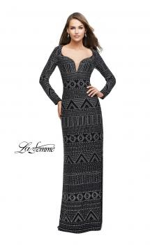 Picture of: Form Fitting Prom Dress with Metallic Studs and Open Back in Black, Style: 25872, Main Picture