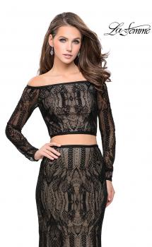 Picture of: Off The Shoulder Two Piece Dress with Long Sleeves in Black, Style: 25983, Main Picture