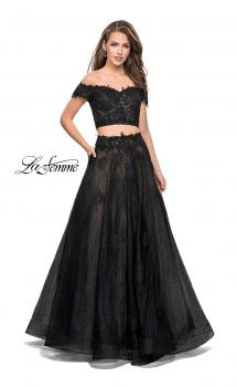 Picture of: Off the Shoulder Two Piece Gown with Polka Dot Print in Black, Style: 26110, Main Picture