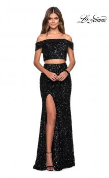Picture of: Two Piece Sequin Off the Shoulder Prom Dress in Black, Style: 27020, Main Picture