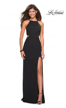 Picture of: Long Prom Dress with High Neck and Wrap Detail in Black, Style: 27070, Main Picture