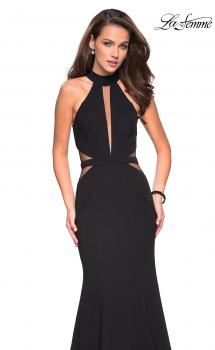 Picture of: Black Jersey Dress with High Neckline and Cut Outs in Black, Style: 27147, Main Picture