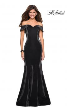 Picture of: Off The Shoulder Long Jersey Prom Dress in Black, Style: 27176, Main Picture