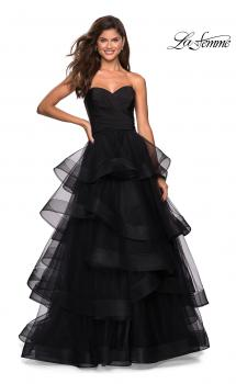 Picture of: Floor Length Strapless Tulle Ball Gown in Black, Style: 27249, Main Picture