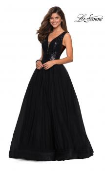 Picture of: sequin Bust A Line Prom Gown with Pockets in Black, Style: 27336, Main Picture