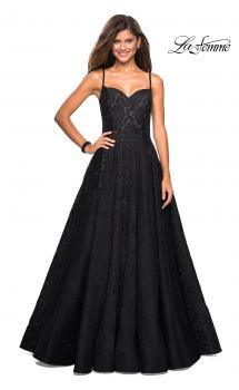 Picture of: Lace Organza Evening Gown with Sweetheart Neckline in Black, Style: 27449, Main Picture