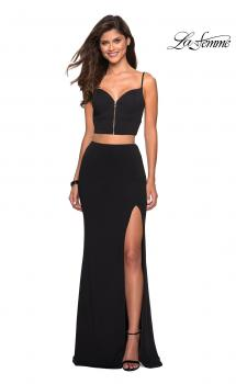 Picture of: Mock Two Piece Prom Dress with Front and Back Zippers in Black, Style: 27453, Main Picture
