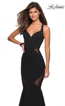 Picture of: Sultry Black Prom Dress with Illusion Detailing in Black, Style: 27454, Main Picture