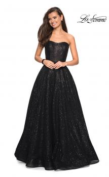 Picture of: Black Strapless Fully sequin Formal Prom Gown in Black, Style: 27467, Main Picture