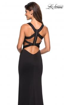 Picture of: Form Fitting Jersey Prom Dress with Side Leg Slit in Black, Style: 27479, Main Picture