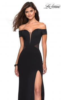 Picture of: Form Fitting Off the Shoulder Dress with Illusion Detail in Black, Style: 27480, Main Picture
