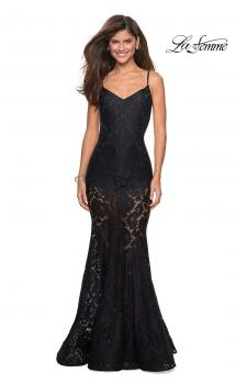 Picture of: Long Form Fitting Lace Prom Dress with Attached Shorts in Black, Style: 27584, Main Picture