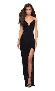 Picture of: Form Fitting Jersey Prom Dress with Criss Cross Back, Style: 27622, Main Picture