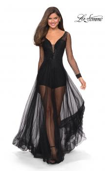 Picture of: Sheer Long Sleeve Gown with Rhinestones and Shorts in Black, Style: 27652, Main Picture