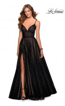 Picture of: A-line Polka Dot Prom Dress with Pockets in Black, Style: 28400, Main Picture