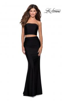 Picture of: Tube Top Two Piece Long Jersey Prom Dress in Black, Style: 28703, Main Picture