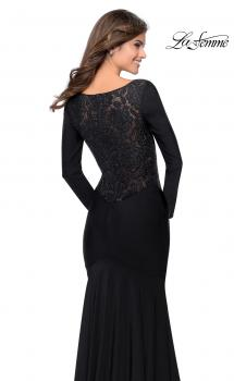 Picture of: Black Long Sleeve Gown with Plunging Neckline in Black, Style: 28906, Main Picture