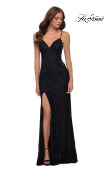 Picture of: Sleek Lace Long Dress with Sheer Sides and Open Back in Black, Style 29694, Main Picture