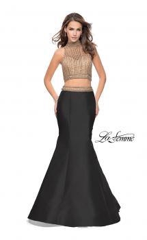 Picture of: Two Piece Mermaid Style Dress with Beading in Black Gold, Style: 25467, Main Picture