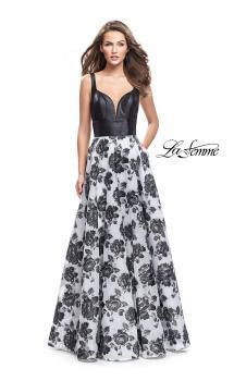 Picture of: Floral Printed A-line Prom Dress with Low V Back in Black Ivory, Style: 25976, Main Picture