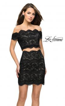 Picture of: Lace Two Piece Dress Set with Off the Shoulder Top in Black Nude, Style: 26666, Main Picture