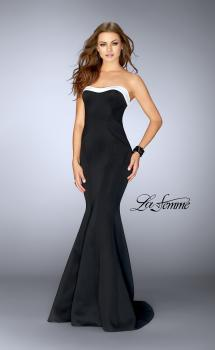 Picture of: Black and White Strapless Neoprene Dress in Black and White, Style: 24715, Main Picture