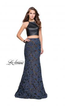 Picture of: Two Piece Mermaid Prom Dress with Vegan Leather Top, Style: 25602, Main Picture