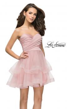 Picture of: Short Homecoming Dress with Tiered Tulle Skirt in Blush, Style: 26654, Main Picture