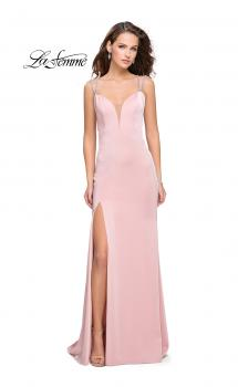 Picture of: Long Jersey Dress with Metallic Straps and Embellishments in Blush, Style: 25660, Main Picture