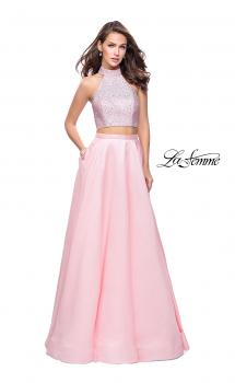 Picture of: Mikado Two Piece A-line Dress with Metallic Beading in Blush, Style: 25705, Main Picture