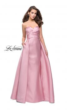 Picture of: Strapless A-line Prom Dress with Cape Skirt and Pockets in Blush, Style: 25738, Main Picture