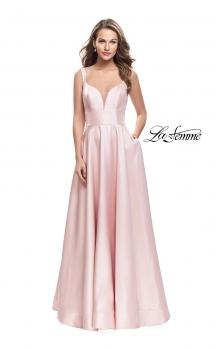 Picture of: A-Line Ball Gown with V Open Back and Pockets in Blush, Style: 26015, Main Picture
