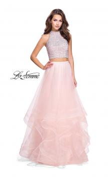 Picture of: Two Piece Prom Gown with Ruffle Tulle Skirt and Beading in Blush, Style: 26077, Main Picture