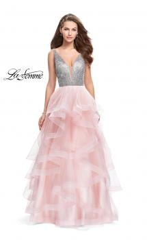 Picture of: Beaded Bodice Ball Gown with Tulle Skirt in Blush, Style: 26223, Main Picture