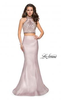 Picture of: Beaded Two Piece Mermaid Prom Dress with Open Back in Blush, Style: 26255, Main Picture